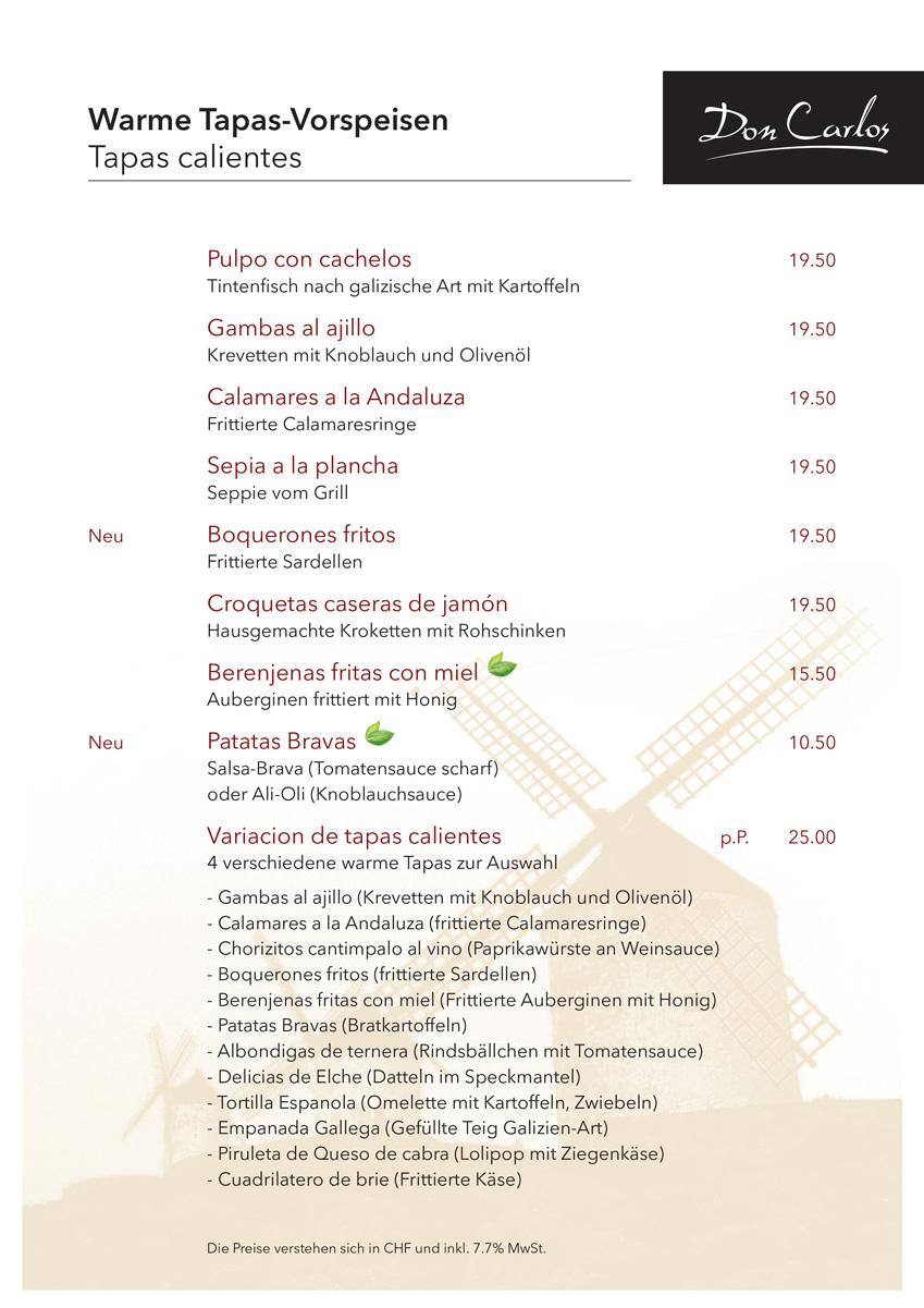 Don Carlos Speisekarte 2019 Herbst